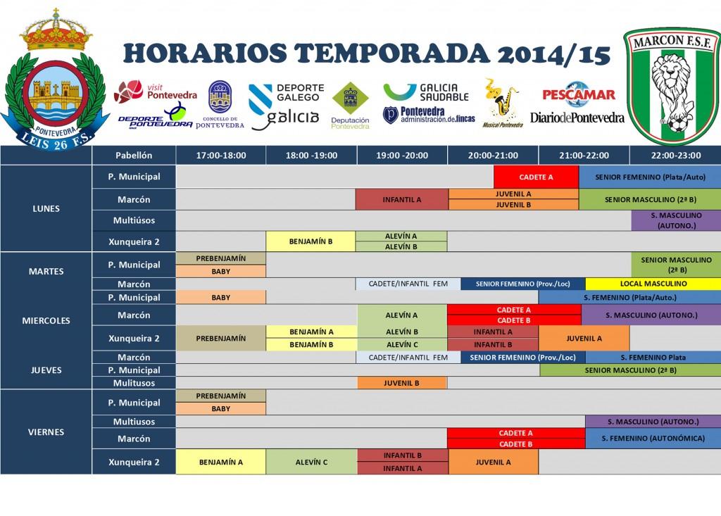 Horarios Temporada 2014-15