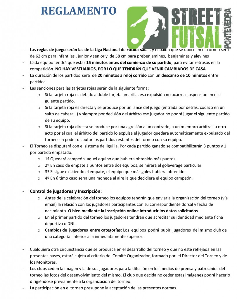 Leis pontevedra f s p gina web oficial for 10 reglas del futbol de salon