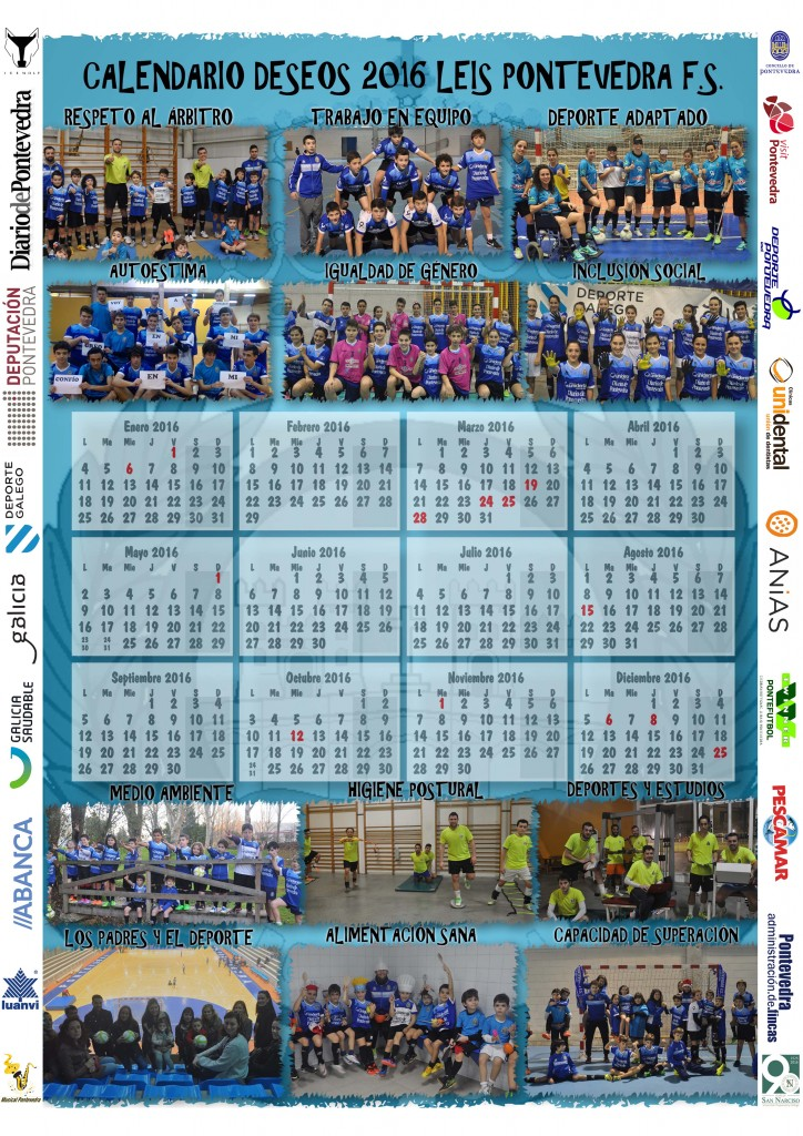 calendario 2016 con patrocinadores