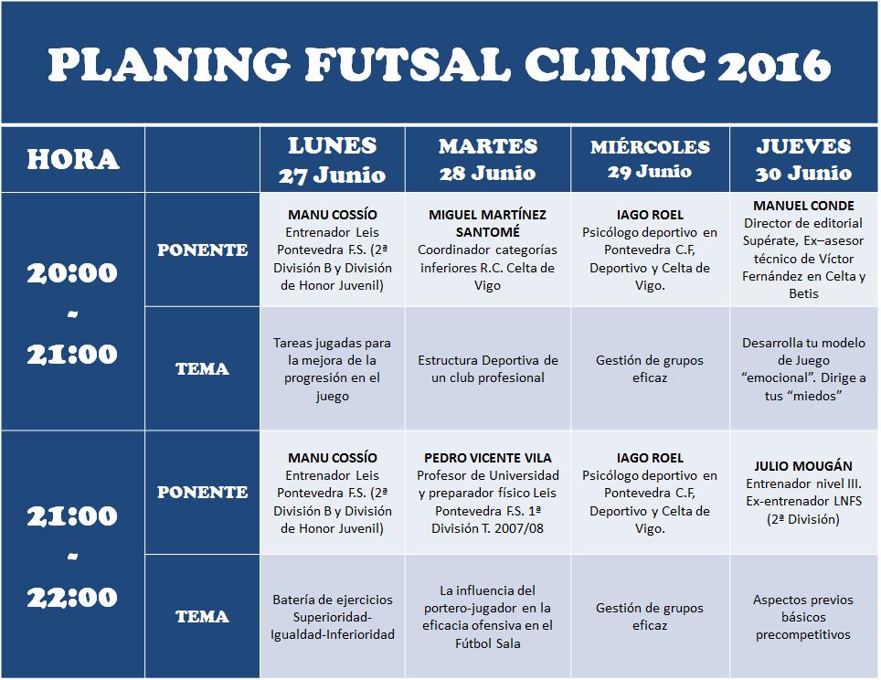 planificación futsal clinic 2016