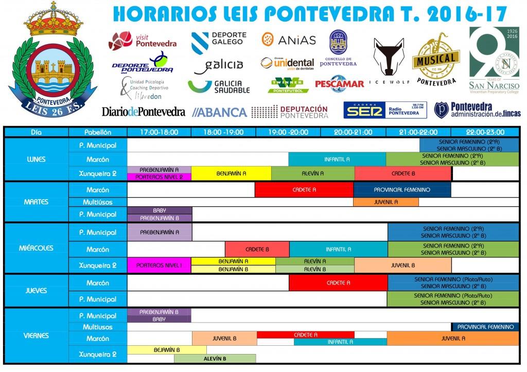 HORARIOS LEIS PONTEVEDRA 2016-17